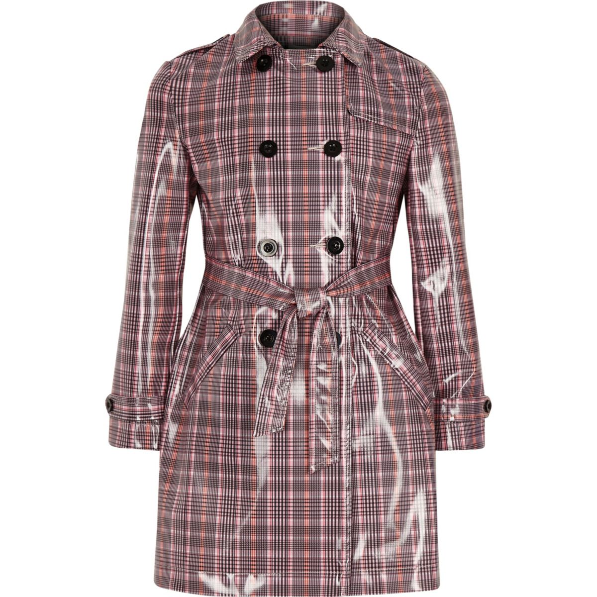 Girls pink check vinyl trench coat