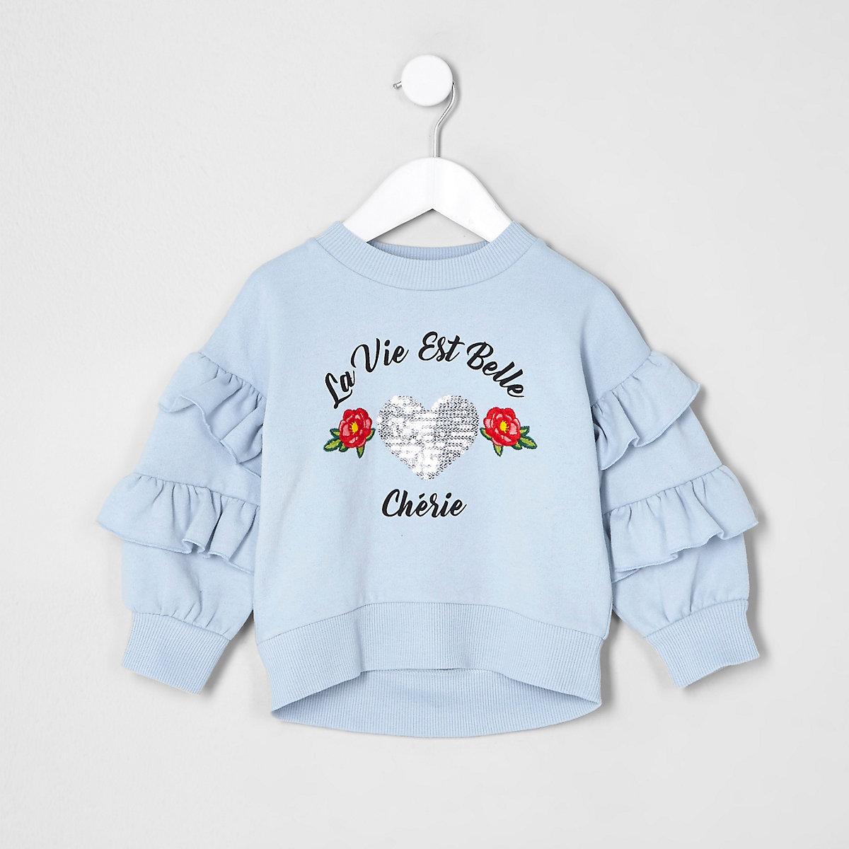 Mini girls blue ruffle sleeve sweatshirt