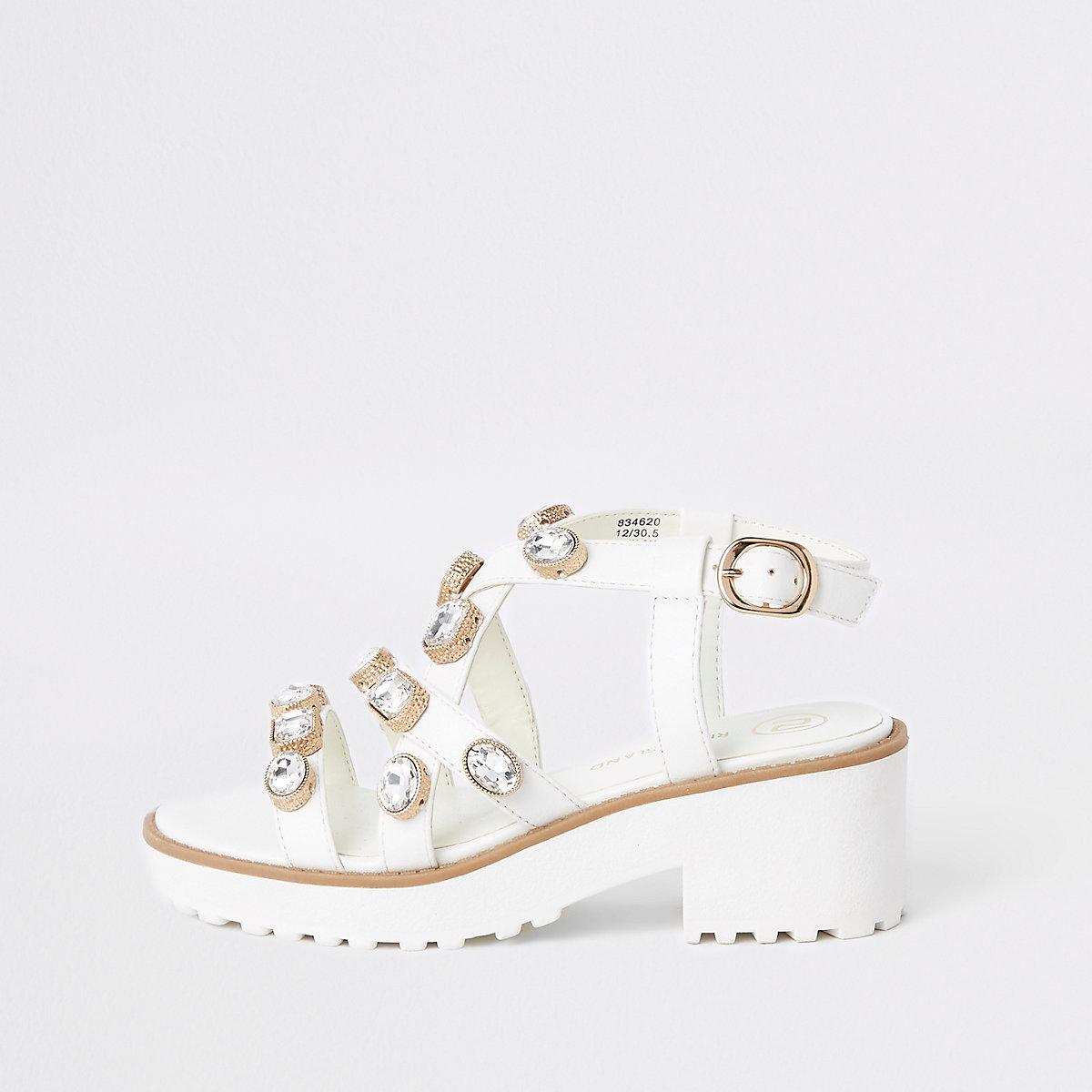 Girls white embellished chunky sandals