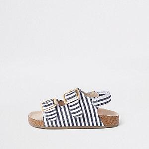 Mini girls navy stripe cork sandals
