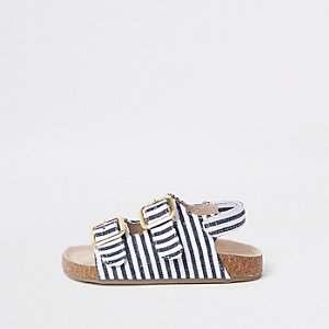 Sandales rayées bleu marine à semelle en liège mini fille
