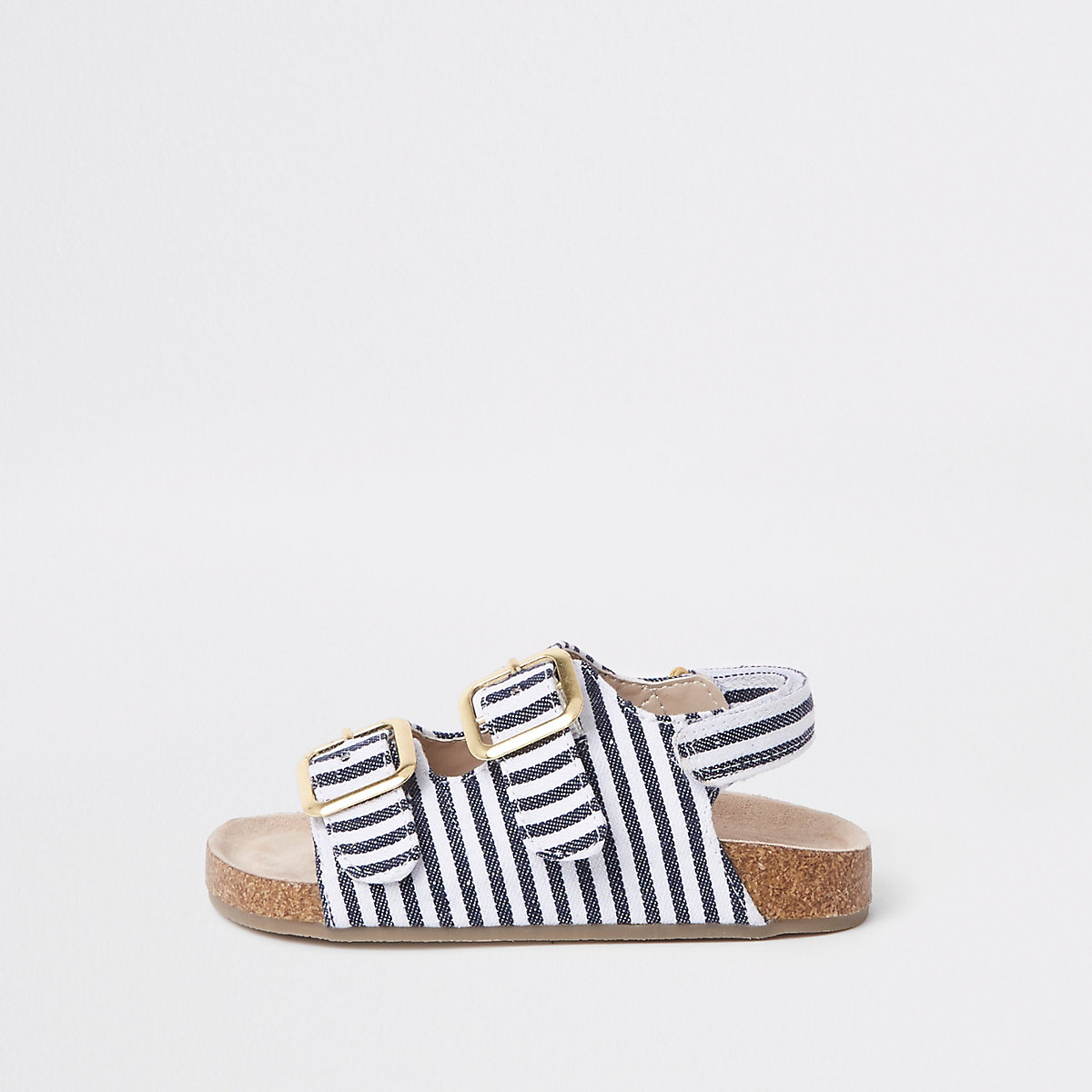 Mini girls navy stripe cork sandals