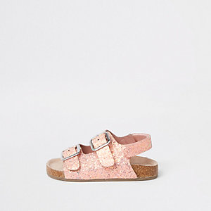 Sandales roses pailletées à semelle en liège mini fille