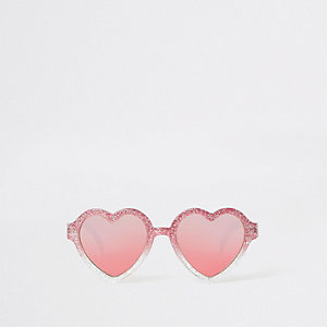 Mini girls pink glitter heart sunglasses