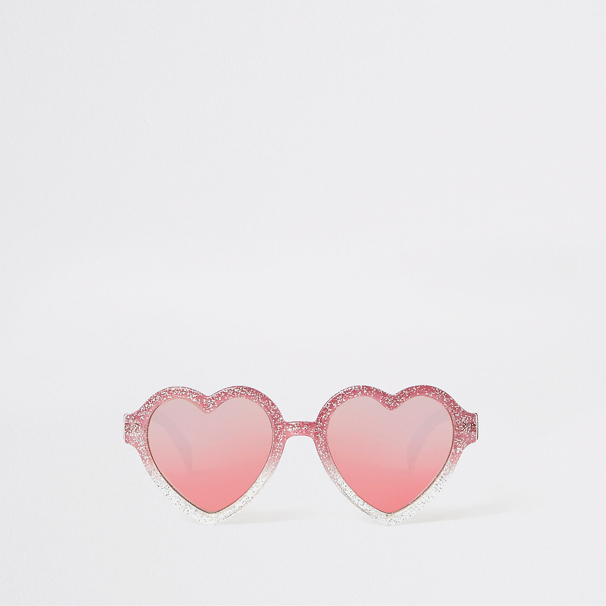 Mini girls pink glitter heart sunglasses