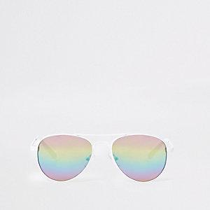 Witte pilotenzonnebril met getinte glazen voor meisjes