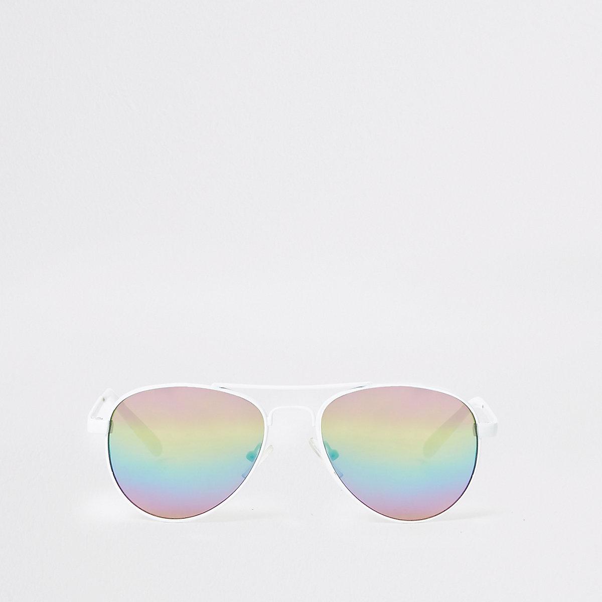 Girls white aviator rainbow lens sunglasses