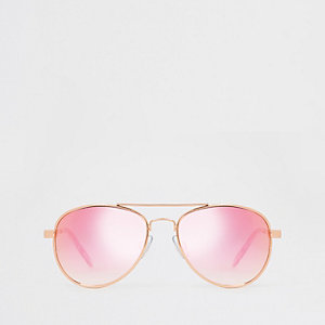 Lunettes de soleil aviateur or rose pour fille
