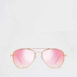 Roségouden pilotenzonnebril voor meisjes