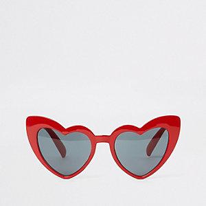 Lunettes de soleil cœurs yeux de chat rouges pour fille