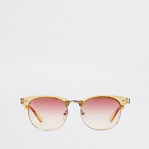 Girls gold glitter retro sunglasses