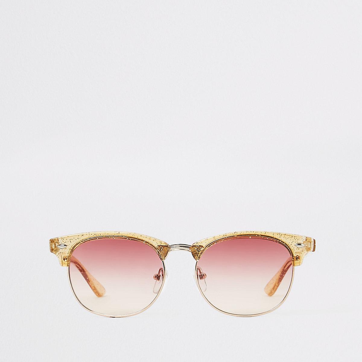 Girls gold glitter retro sunglasses
