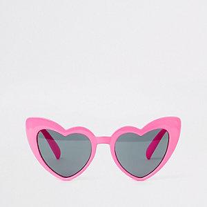Roze cat-eye-zonnebril met hartjes voor meisjes
