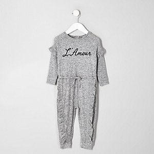 Mini girls grey 'L'amour' frill onesie