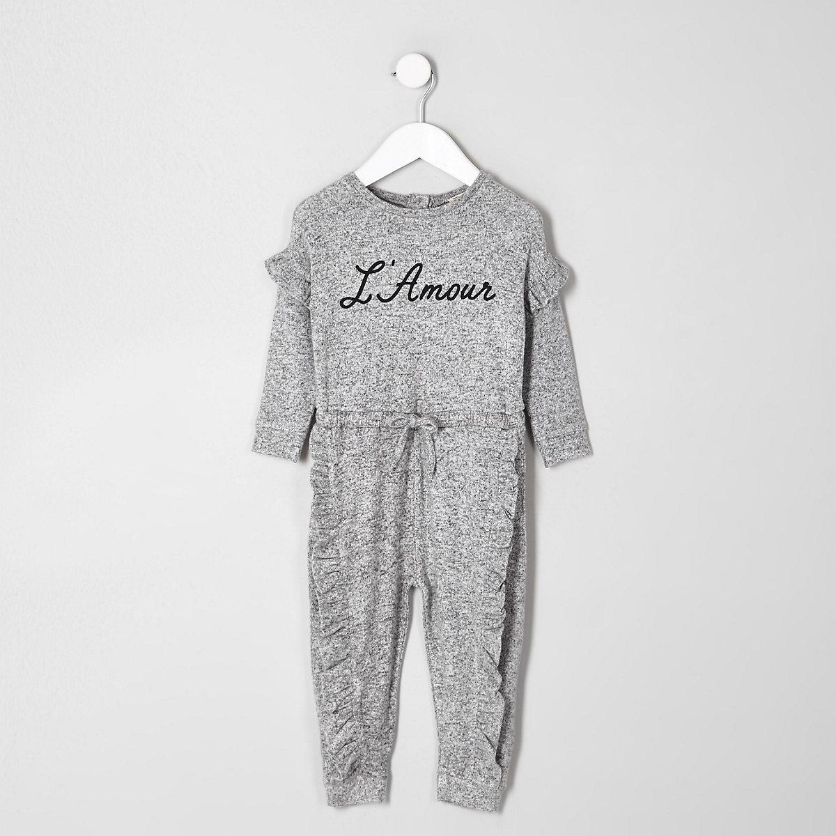 Mini girls grey 'L'amour' frill onesie