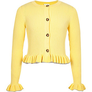 Girls yellow ribbed frill hem cardigan