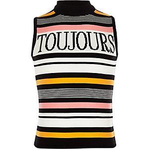 Zwarte gestreepte tanktop met 'Toujours'-print voor meisjes