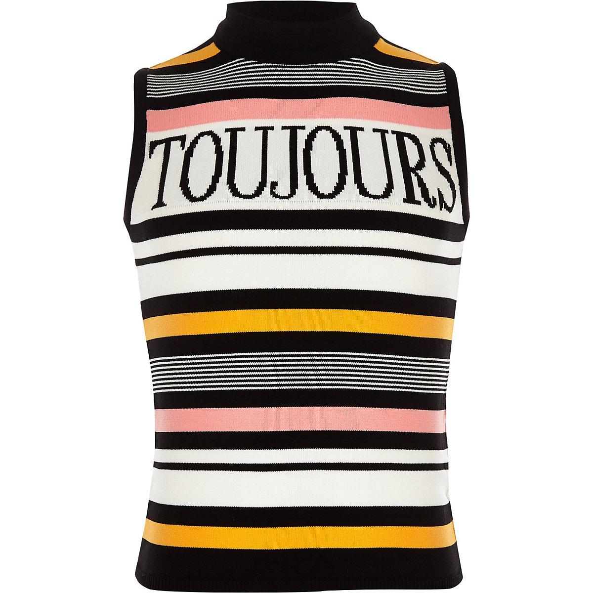 Girls black 'Toujours' stripe tank top