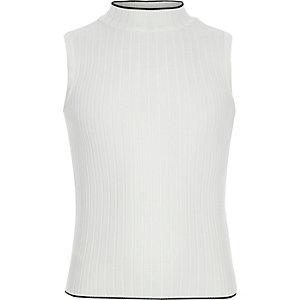 Girls cream ribbed turtle neck tank top