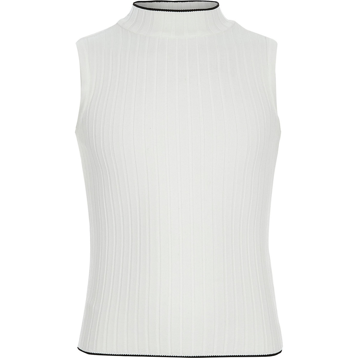 Girls cream ribbed turtle neck tank top