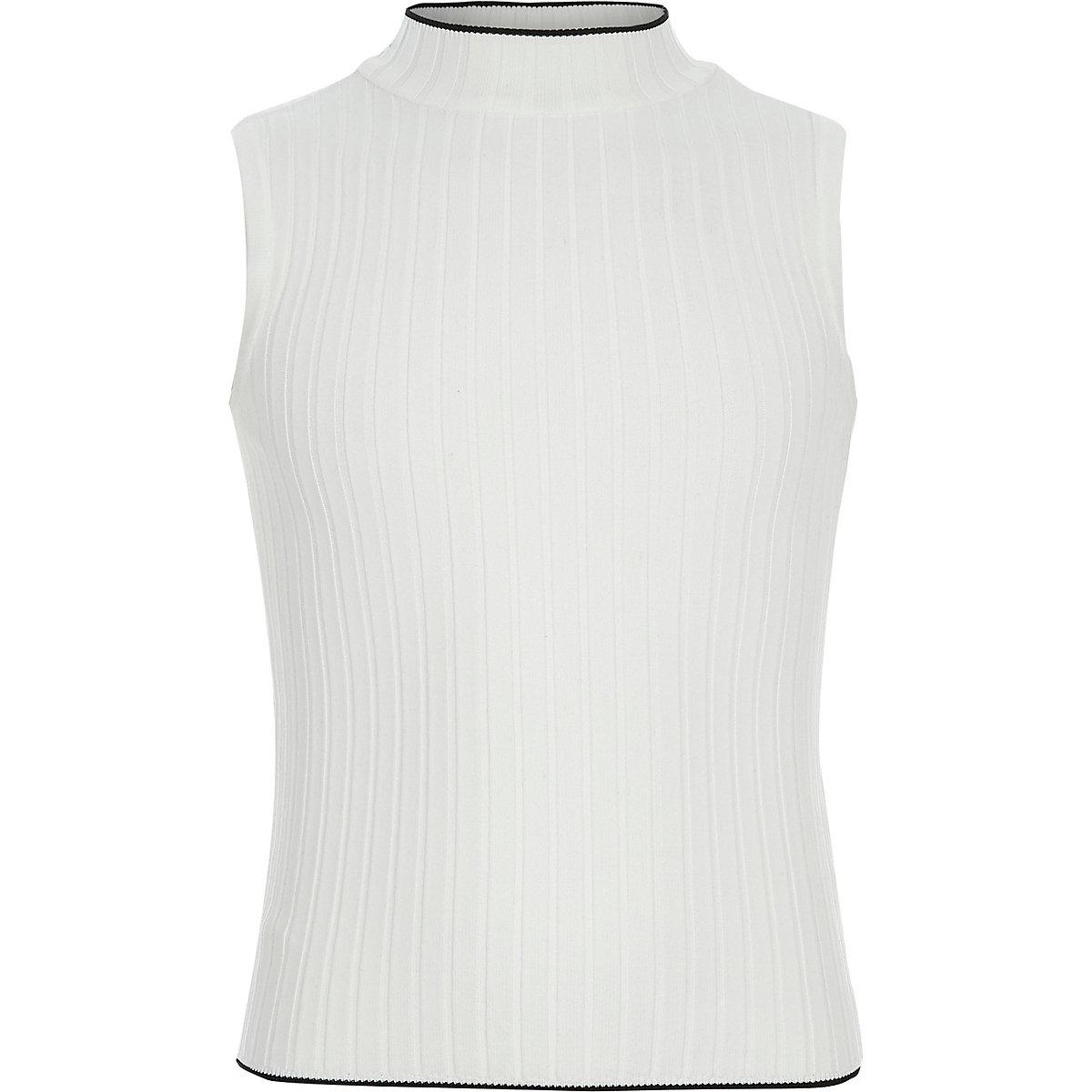 Girls cream ribbed high neck tank top