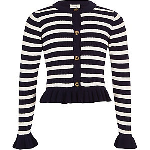 Girls navy stripe frill cardigan