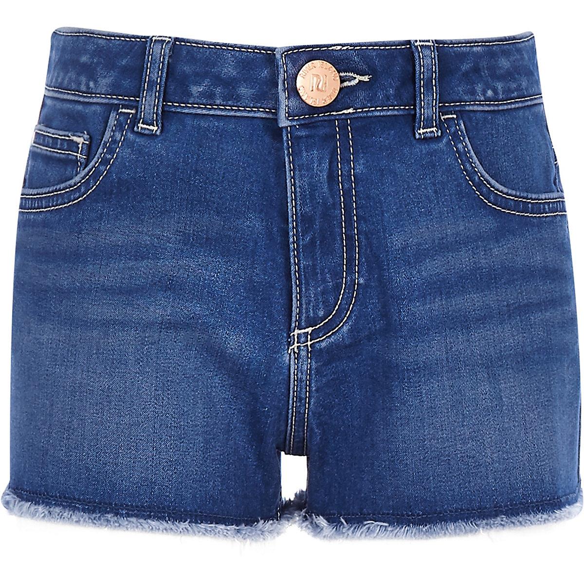 Girls blue Becca boyfriend denim shorts