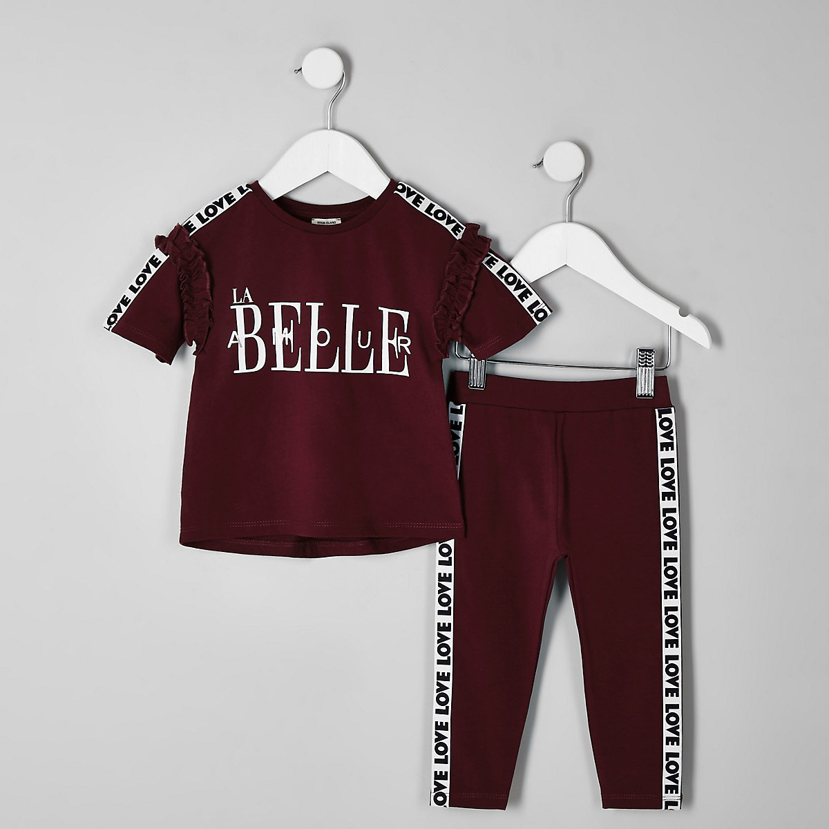 Mini girls purple tape 'Belle' T-shirt outfit