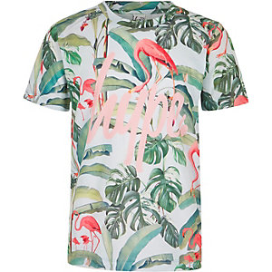 Hype - Groen T-shirt met flamingoprint voor meisjes