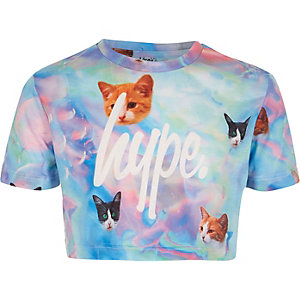 Hype – Blaues, kurzes T-Shirt mit Katzenprint