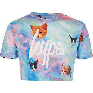 Hype – T-shirt court à imprimé chats bleu pour fille
