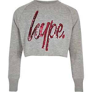 Hype – Graues, kurzes Sweatshirt mit Pailletten