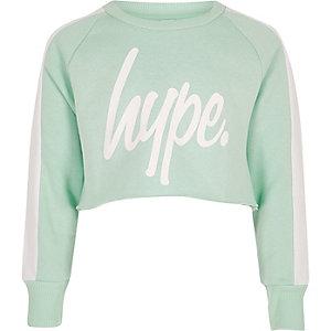 Hype – Grünes, kurzes Sweatshirt mit Logo