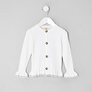 Mini girls cream ribbed frill hem cardigan