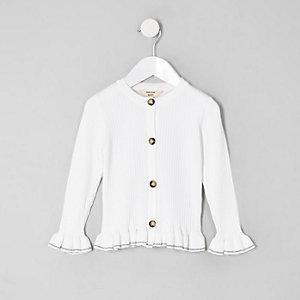Mini - Crème geribbeld vest met ruches aan de zoom voor meisjes