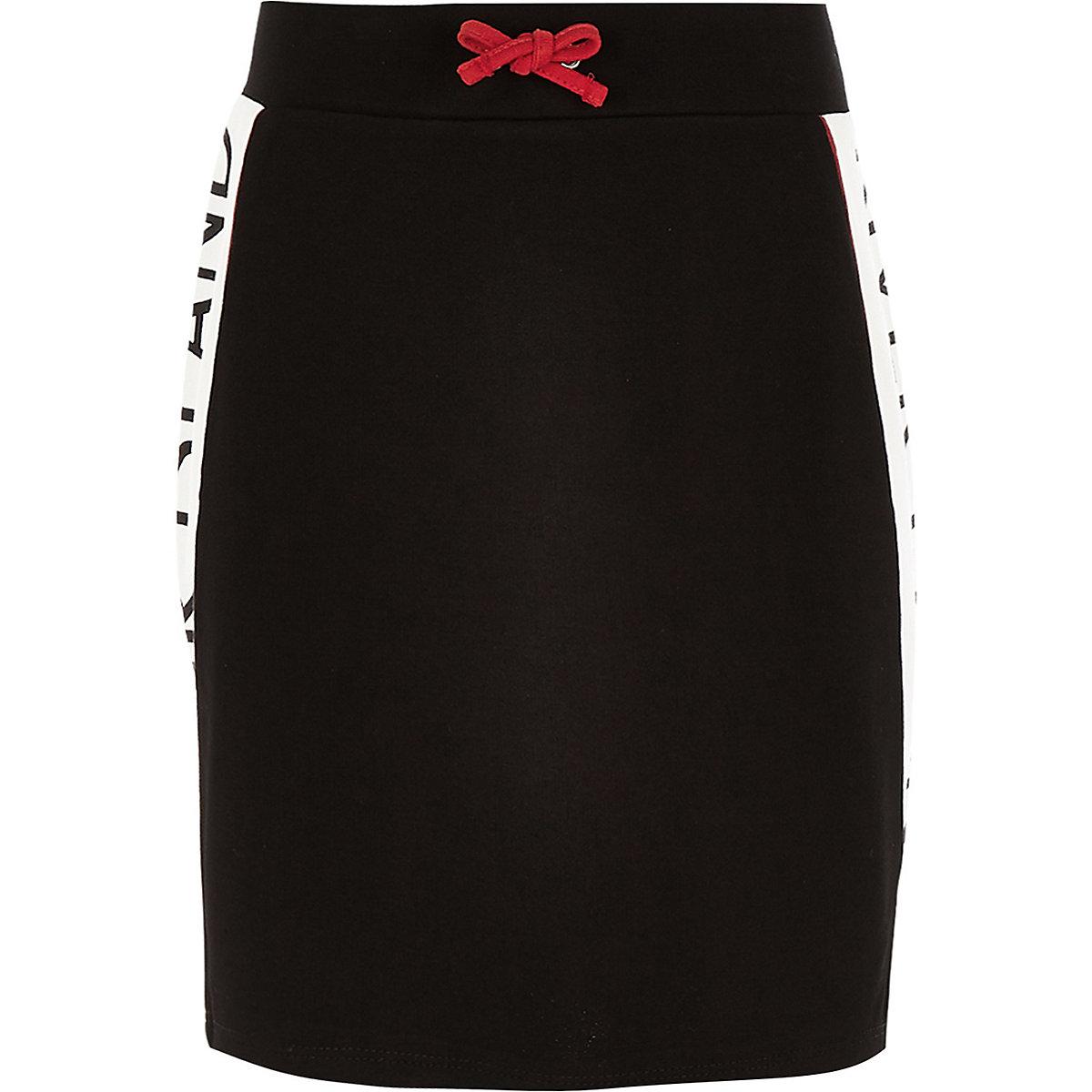 Girls black RI tape skirt
