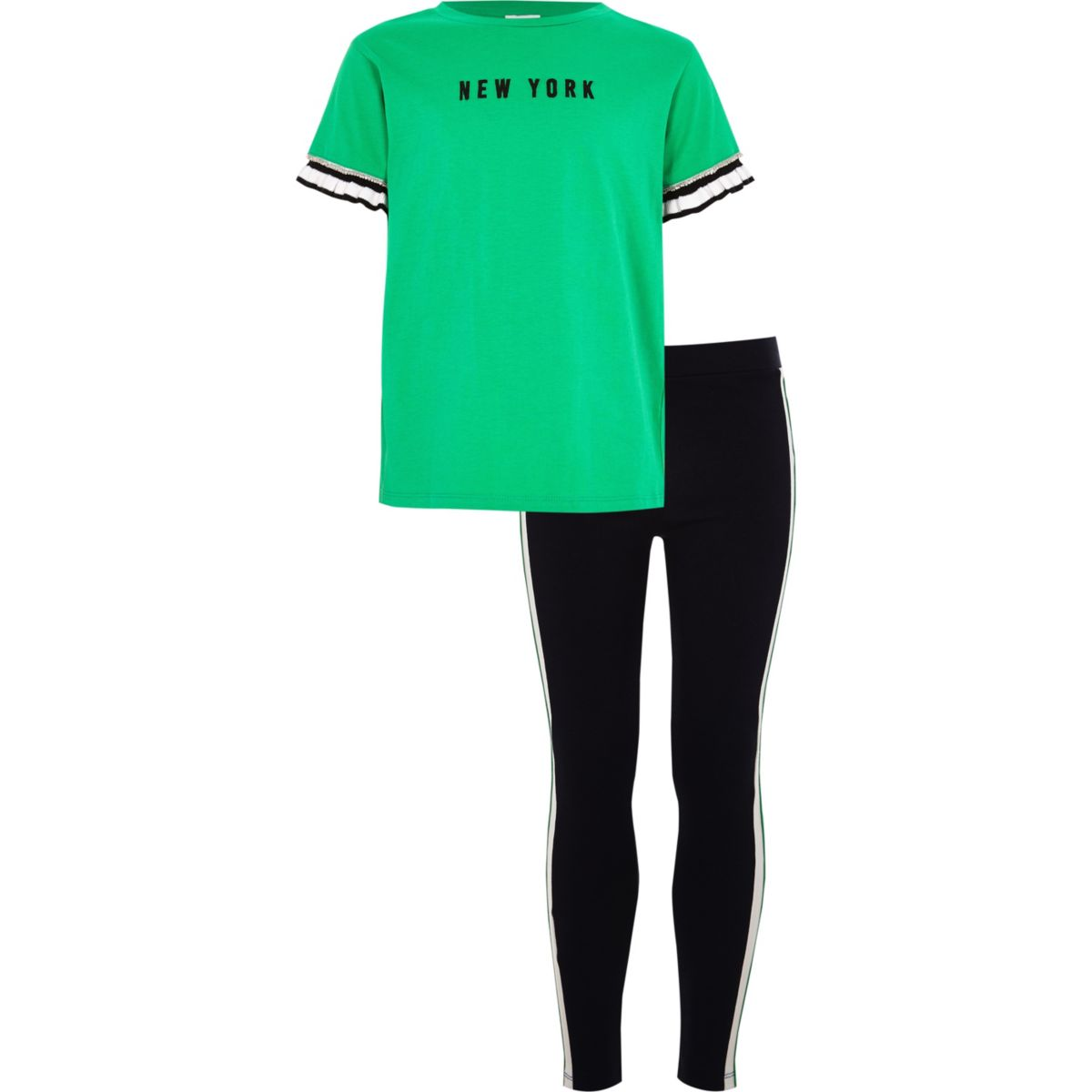 Girls green 'New York' T-shirt outfit