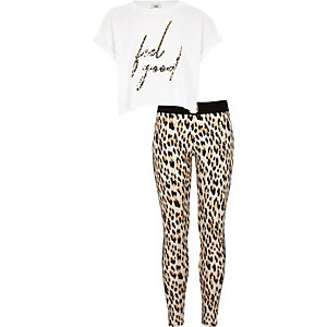 Girls white 'feel good' leopard print outfit