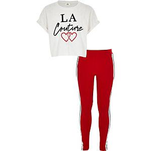 Ensemble avec t-shirt à imprimé « La couture » blanc pour fille