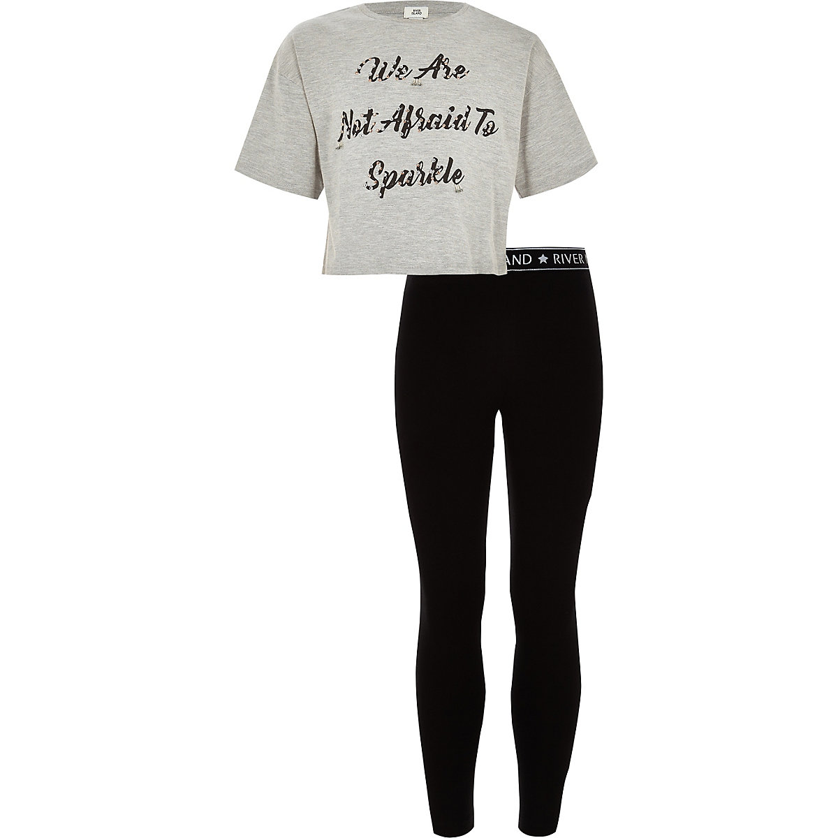 Girls grey 'not afraid' T-shirt  outfit