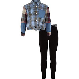 Girls blue check button-up shirt outfit