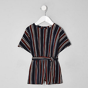 Mini girls blue stripe plisse playsuit