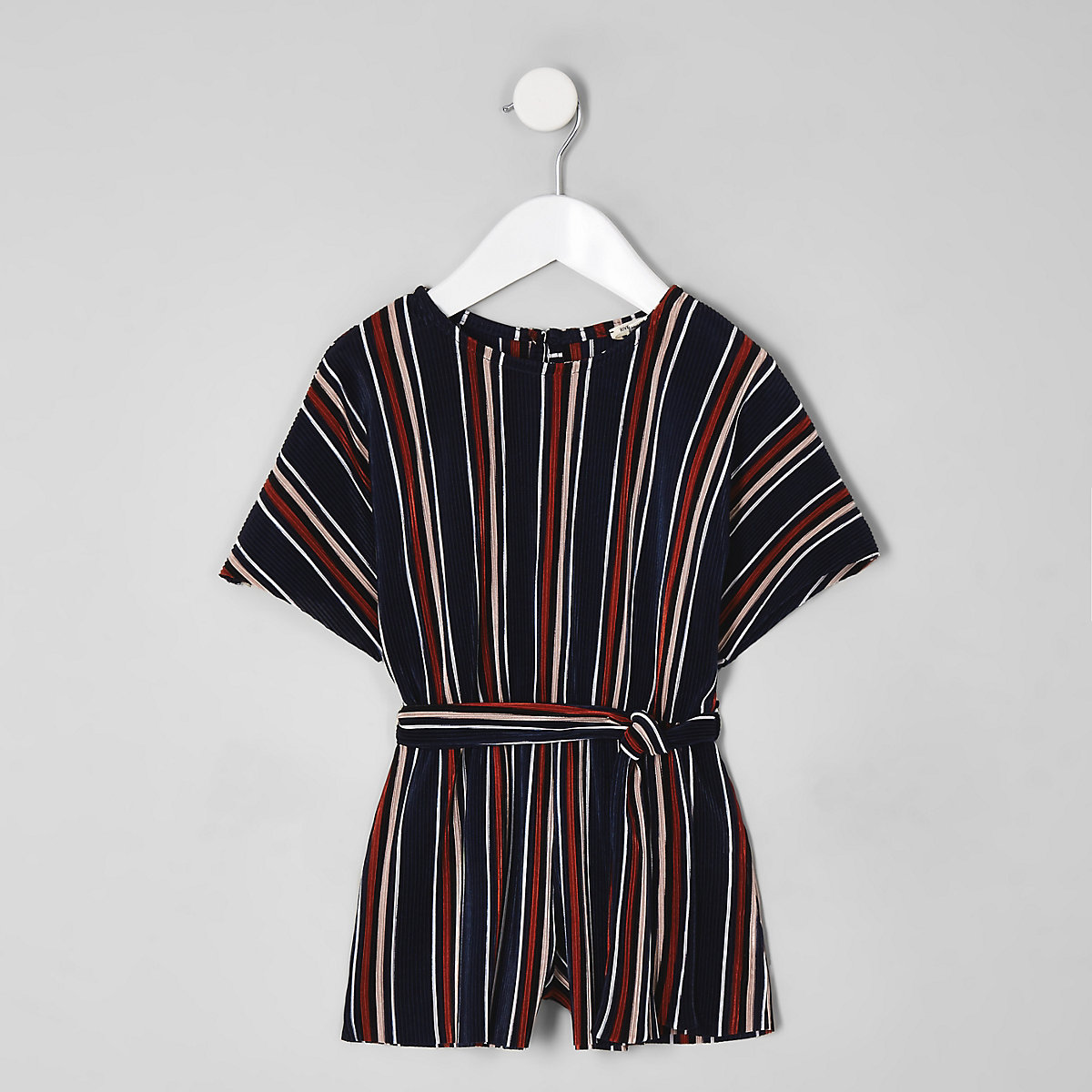 Mini girls blue stripe plisse playsuit