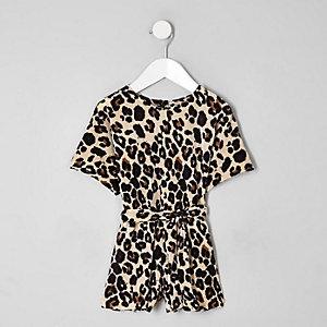 Mini girls brown plisse leopard playsuit