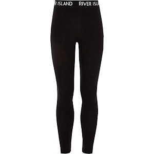 Girls black RI waistband leggings