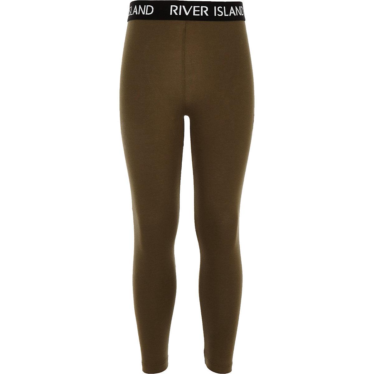 Girls khaki RI waistband leggings