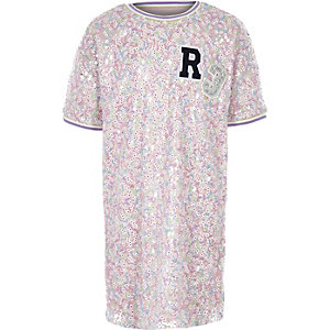 Girls pink sequin 'R3' T-shirt dress