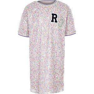 Robe t-shirt « R3 » rose à sequins pour fille