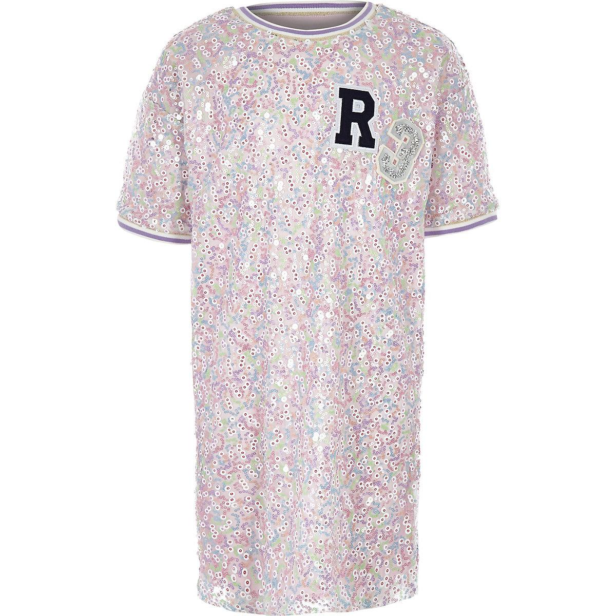 Girls pink sequin 'R3' T-shirt dress