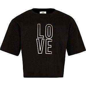 T-shirt court « Love » noir pour fille